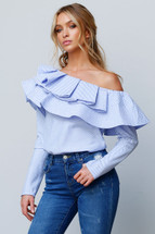 LUXE BY STYLE KEEPERS THINK FASHION RUFFLE OFF THE SHOULDER TOP - PINSTRIPED BLUE (M)