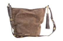 Michael Kors Michael Kors Brooklyn Large Grommet Feed Bag Leather Suede Coffee NWT $428