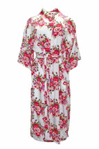 Beautiful Belted Kimono Robe Bridesmaids/Bridal Floral Rose/Peony Pattern - Long