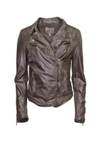 NWOT Muubaa Monteria Leather Biker Jacket (8) Dark Chocolate