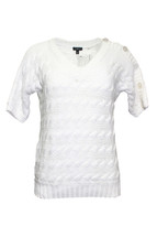 Pre-owned Talbots Petite Knotted Sweater Short Sleeve Pullover (SP) White