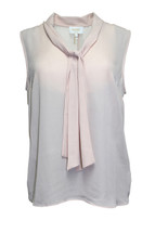 Laundry By Shellli Segal Women's Rose Smoke Sleeveless Tie-neck Blouse (L)