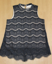 Pre-owned Rose + Olive Mock Lace Lined Sleeveless Black Top (M)