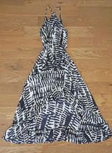 Pre-owned Karina Grimaldi Revolve Silk Hi-Low Maxi Black White Print Dress