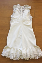 Rebecca Taylor Sleeveless Dress With Lace Snow (8) Medium
