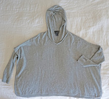 Pre-ownedTAHARI 100% Pure Luxe Cashmere Long Sleeve Hooded Oversized Poncho Sweater Large
