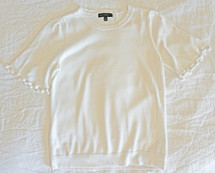 Pre-owned Banana Republic Pom  Pom Tee Knit Sweater Top White