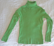 Pre-owned Jeanne Pierre Ribbed Turtleneck Green (S) Small