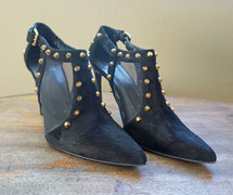 Pre-owned STUART WEITZMAN BLACK SAUNTER STUDDED SUEDE & MESH BOOTIES SIZE 9