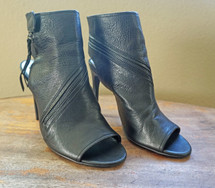 Pre-owned Dolce Vita Hal Leather Open Toe Bootie Heel Black Leather Zip Size 9