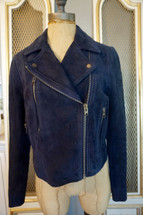 Pre-owned Topshop Suede Leather Moto Jacket Navy US (4)