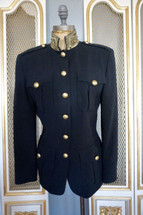 Vintage DKNY Wool Military Blazer Jacket Black Sequins Collar (2)