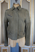 Pre-owned Banana Republic 100% Leather Suede Olive Moto Jacket, sz XSmall