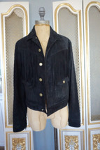 NWOT Current Elliot Suede Lamb Leather Crop Fringe Jacket Black (1) $1250