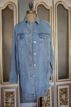 Pre-owned Topshop Moto Oversize Denim Jean Jacket Long US (6) UK 10