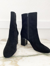 Pre-owned Michael Kors Arabella Suade Ankle Bootie - Size 9 Black Retail $225