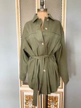 Pre-owned Zara Khaki Belted Jacket Army Green - Small