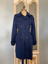 Pre-owned J.Crew Petite Washed Cotton Trenched Coat Sz 8P Navy E8252