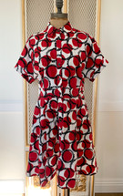 Pre-ownedKate Spade Women's Red Stamped Dots Shirtdress Size 6