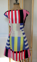 Pre-owned Kate Spade New York Multi Stripe Kite Bow Back Dress Size 6 MSRP: $448.00