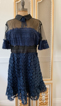 Few Moda New York Midi Sheer Lace Flower Collard Dress Blue/Blk XL