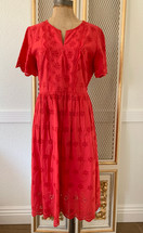 Pre-owned Madewell Scalloped Eyelet Midi Dress Red Size 10