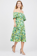 Pre-owned Clover and Sloane Tropical Off the Shoulder Dress L