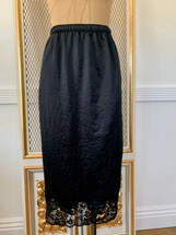 Pre-owned Slip Satin Skirt with Lace Trim Black-S