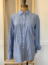 Pre-owned Women's J.CREW Perfect Shirt Blue 6