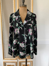 Pre-owned Floral Isla Maude Satin Button-Down Pajama Blouse Black Small