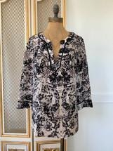 Pre-owned Rebecca Taylor Sheer Floral Silk Pullover (8)