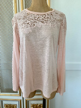Pre-owned Rebecca Taylor Linen Crochet Top Blouse  Pink (M)