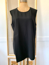 Vince Camuto Sleeveless Back zipper Crew Neck Puller Over Blouse Black