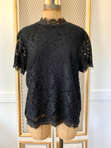 Pre-owned Laundry by Shelli Segal Women's  Short Sleeve Lace Blouse Blk