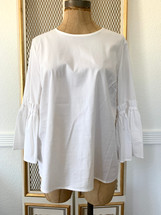 Pre-owned Marled Cotton Bell Sleeve  Crew Neck Blouse White (M)