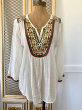 Pre-owned Velvet by Graham & Spencer Beaded Peasant Embroidered V-Neck Pullover Blouse