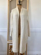 Pre-owned Larry Levine Knitted Oversized Cardigan Sweater Ivory (S)