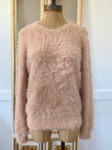 Pre-owned Banana Republic Eyelash Fuzzy Pink Sweater (M)