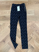 ZARA Side-Zip Stretch Flower Print Leggings Black (XS)