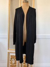 Pre-owned 89th & MADISON Long Open Front Cardigan Black (S)
