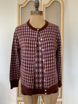 Pre-owned J.Crew $228 Featherweight Cashmere Gingham Cardigan & Shell Sweater Set Garnet Mauve (S)