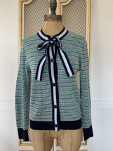 Pre-owned Textured Lady Cardigan Neck Tie (S)