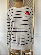 Pre-owned Banana Republic White Striped Kiss Bold Red Lips Merino Wool Sweater (S)