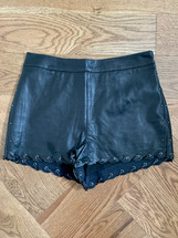 Pre-owned Top Shop High Waisted Faux Leather Shorts Black US (6)