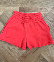 Pre-owned Good America The High Waist Sweat Shorts Red (1)