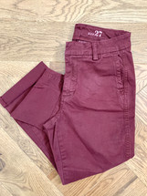 Pre-owned J. Crew Sammie Crop Chino Pants Cabernet (27)