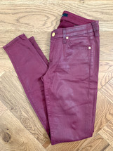 Pre-owned 7 FOR ALL MANKIND Coated Denim Skinny Jeans Maroon (27)