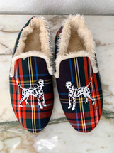 Pre-owned J. Crew red Tartan Plaid Embroidered Dalmatian Loafer Slippers (9)