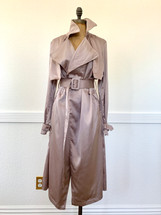 Eight Paris Sexy Satin Trench Duster with Belt Lilac Small