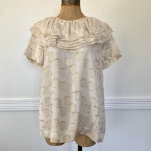 Pre-owned Kate Spade Shimmer Circle Flutter Top (M)